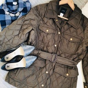 J. Crew quilted down jacket L Large olive green